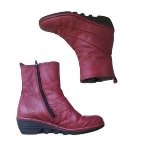 FLY LONDON BOOTS Red Wedge Boots Size 37